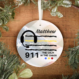 911 Dispatcher Personalized Ornament | Thin Yellow Line Ornament | 911 Dispatcher Gifts | Durable Metal - Pooky Noodles