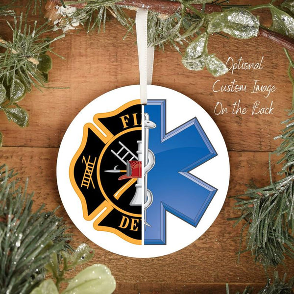 Fire Medic Personalized Ornament | Firefighter Paramedic Ornament | First Responder Gifts | Durable Metal - Pooky Noodles