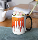 Firefighter Ceramic Coffee Mug. Funky Flaming Firefighter Graphics. - Pooky Noodles