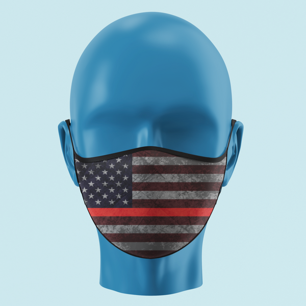 Firefighter Thin Red Line Color American Flag Mask - Pooky Noodles