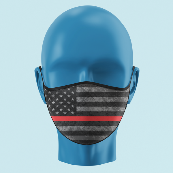 Firefighter Thin Red Line Grayscale American Flag Mask - Pooky Noodles