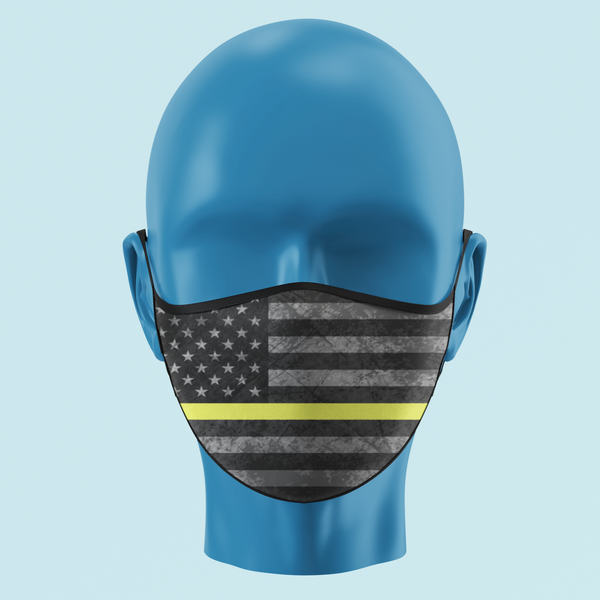Yellow/Gold Line Grayscale American Flag Face Mask - Pooky Noodles