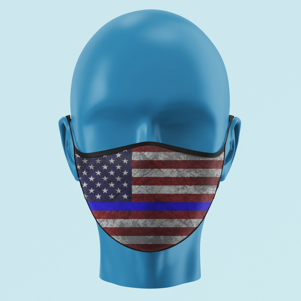 Thin Blue Line Color American Flag Mask - Pooky Noodles