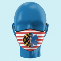 Fire Medic Star of Life and Maltese Cross Flag Mask - Pooky Noodles