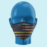 Yellow/Gold Line Color American Flag Face Mask - Pooky Noodles