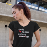 My Knight in Shining Bunker Gear Firefighter's Wife V Neck T Shirt - Pooky Noodles