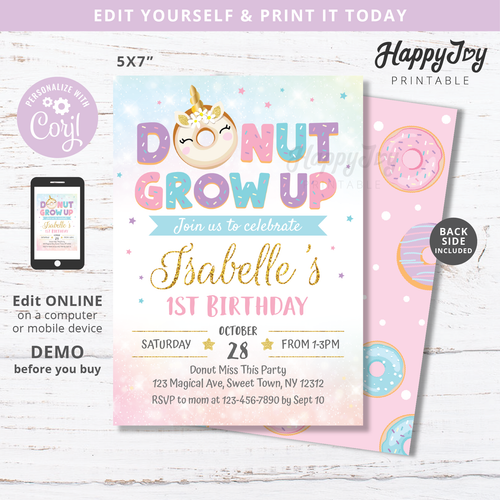 donut grow up unicorn invitation for girl's birthday in sweet pastel colors