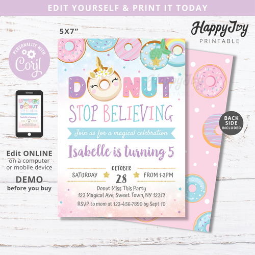 Donut stop believin' invitation by happyjoyparty printable