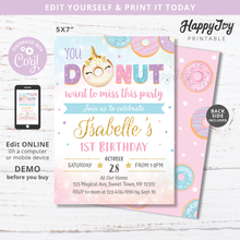 Load image into Gallery viewer, Donut miss the birthday party invitation by happyjoyparty printable