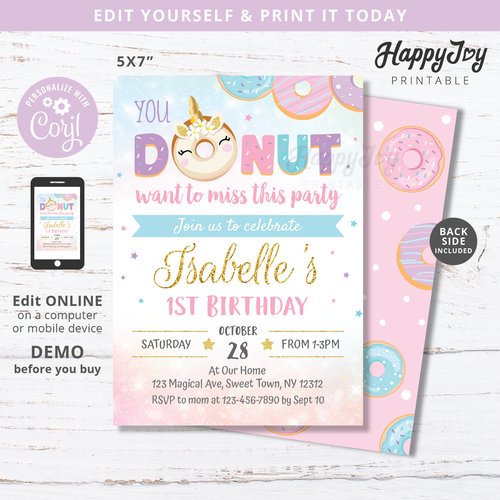 Donut miss the birthday party invitation by happyjoyparty printable