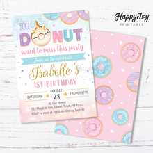 Load image into Gallery viewer, Donut Miss This Party Girls Birthday Invitation 5x7