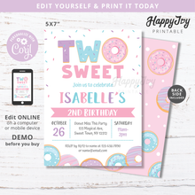 Load image into Gallery viewer, Two sweet birthday invitation by happyjoyparty printable