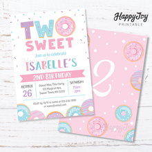Load image into Gallery viewer, TWO Sweet Donut Girls 2nd Birthday Invitation 5x7
