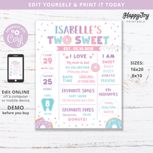 Load image into Gallery viewer, TWO Sweet Donut Milestone Board EDITABLE Poster for Girl's 2nd Birthday Party