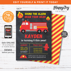 Fire Truck Firefighter Birthday Party Invitation Digital 5x7
