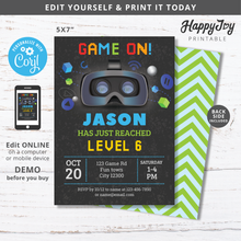Load image into Gallery viewer, Virtual Reality VR Video Gaming Birthday Invitation 5x7