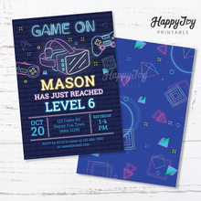 Load image into Gallery viewer, Virtual Reality VR Gaming Birthday Neon Style Invitation 5x7