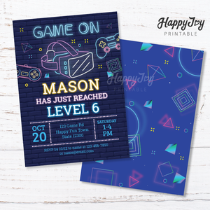 Virtual Reality VR Gaming Birthday Neon Style Invitation 5x7