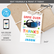 Load image into Gallery viewer, VR Virtual Reality Game Birthday Party Favor Tag