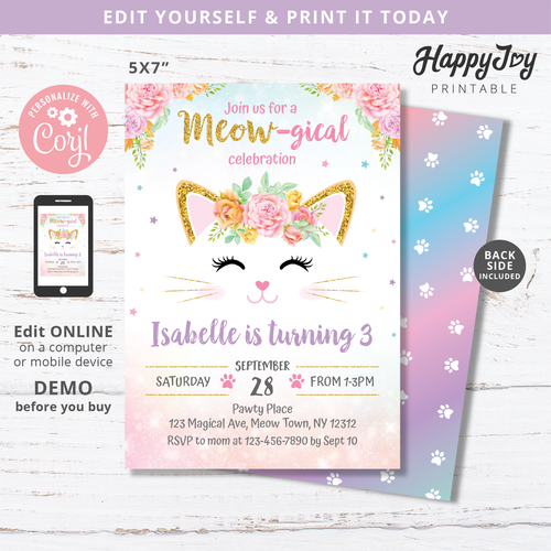 Kitten Meowgical Birthday Party Invitation 5x7