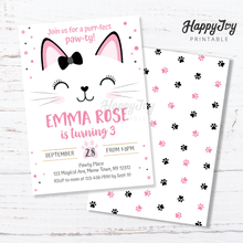 Load image into Gallery viewer, Kitten Cat Birthday Party Invitation Pink 5x7