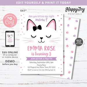 Purrfect Kitty Cat Birthday Party Invitation 5x7
