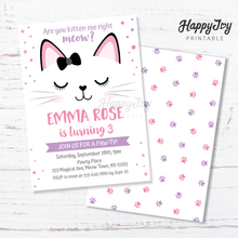 Load image into Gallery viewer, Purrfect Kitty Cat Birthday Party Invitation 5x7