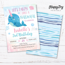 Load image into Gallery viewer, Narwhal Under the Sea Gils Birthday Party Invitation 5x7