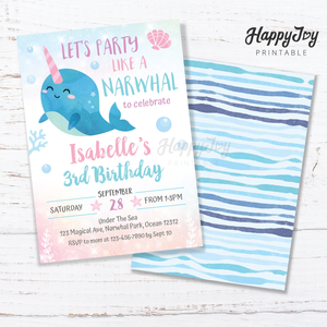 Narwhal Under the Sea Gils Birthday Party Invitation 5x7