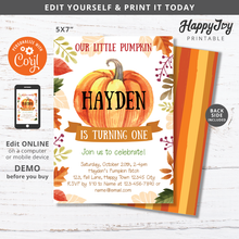 Load image into Gallery viewer, Little Pumpkin Birthday Party Invitation Digital 5x7