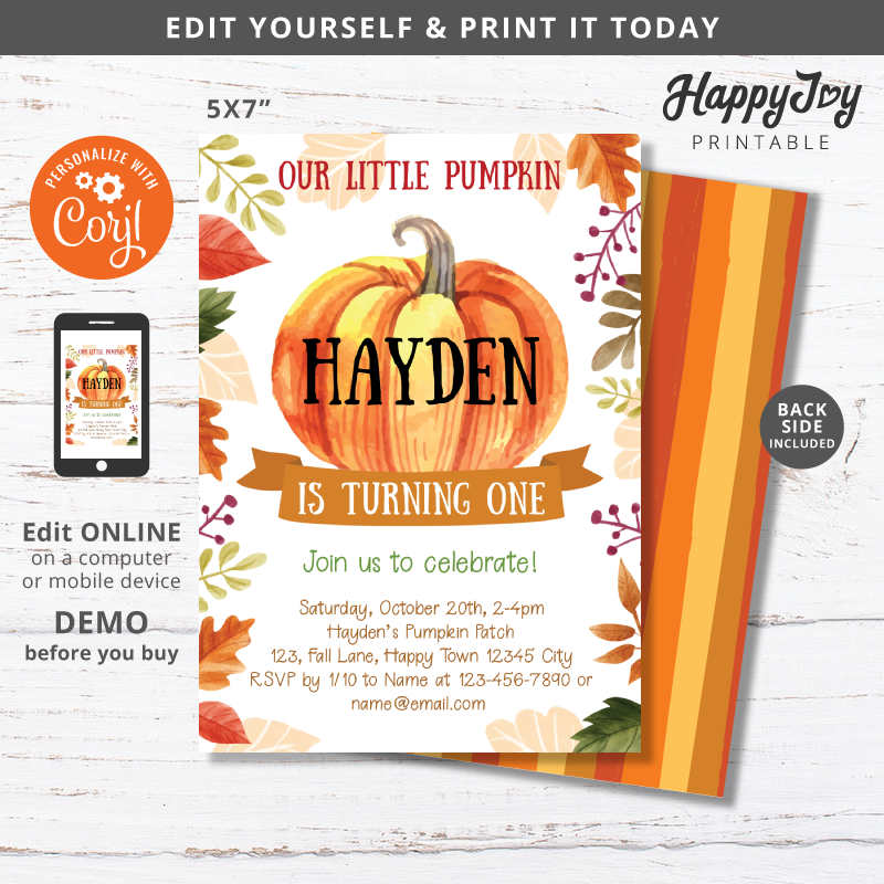 Little Pumpkin Birthday Party Invitation Digital 5x7
