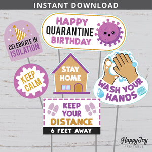 Quarantine Social Distancing Birthday Purple Gold Centerpieces Cake Toppers