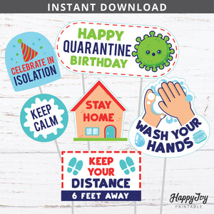 Quarantine Social Distancing Birthday Centerpieces Cake Toppers