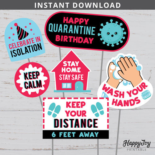 Quarantine Birthday Virtual Tiktok Style Centerpieces Cake Toppers Tik Tok