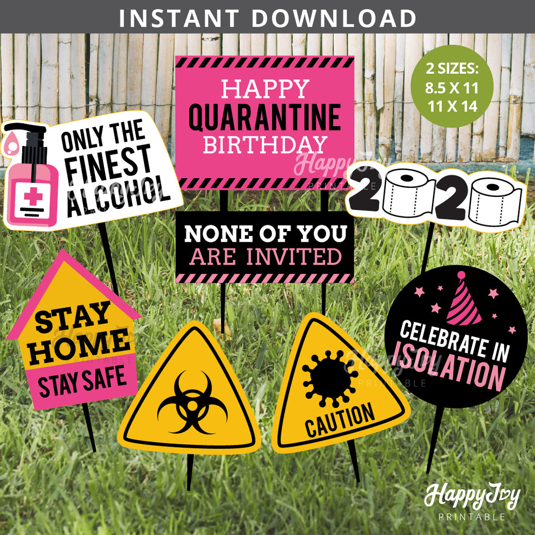 Quarantine Birthday 2020 Pink Black Party Signs Cutout Decor Yard Photo Props