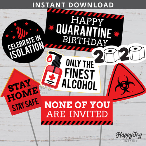 Quarantine Birthday Red Party Centerpiece Photo Props Cake Topper