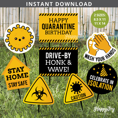Quarantine Kids Birthday Stay Safe Party Signs Cutout Decor Yard Photo Props