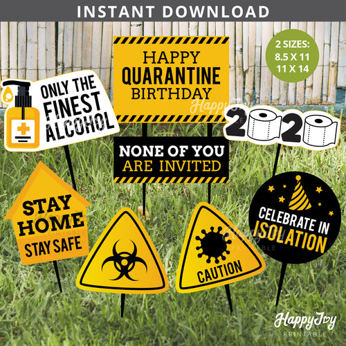 Quarantine 2020 Birthday Party Signs Cutout Decor Yard Photo Props
