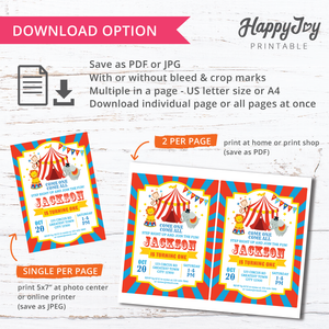Circus Carnival Birthday Party Invitation Digital Printable 5x7
