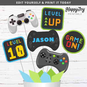 Video Gaming Game Party Centerpiece Cake Topper