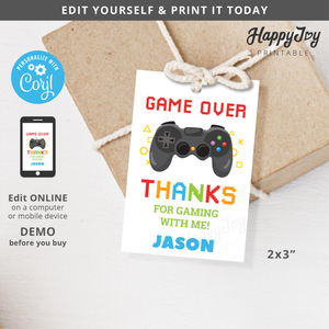 Video Game Console Party Favor Tag