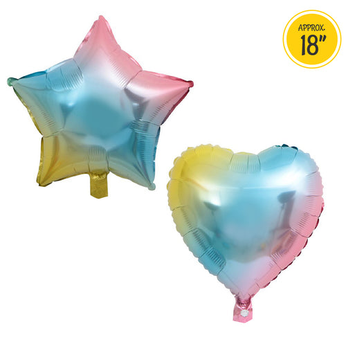 [Free Shipping] Rainbow Heart Star Mylar Balloon (2pcs)