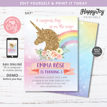 Load image into Gallery viewer, Unicorn Girl's Birthday Party Invitation 5x7