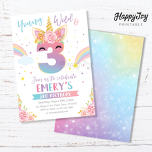 Load image into Gallery viewer, Unicorn Young Wild and Three 3rd Birthday Invitation 5x7