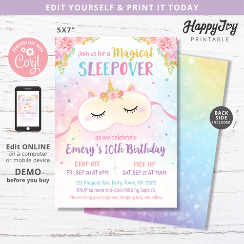 Unicorn Sleepover Slumber Party Birthday Invitation 5x7