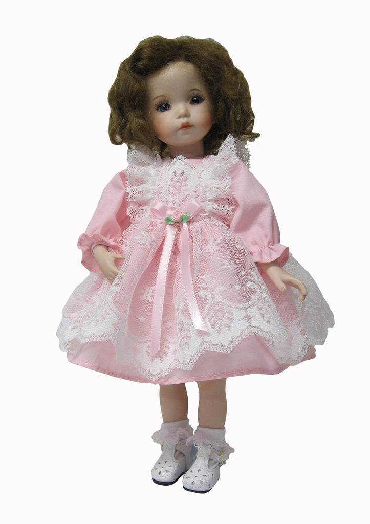 "Delicate Lace Pinafore Dress for 10"" Dianna Effner Dolls"