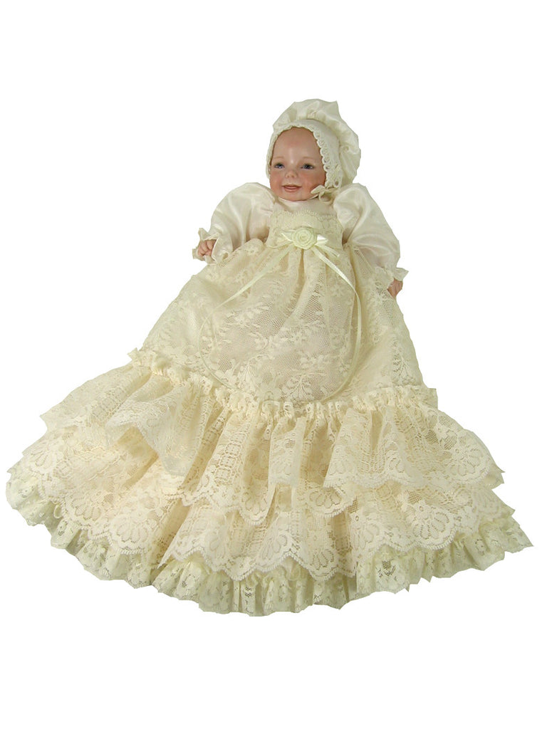 "10""+ Christening Doll Dress"