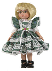 "10"" Calico Pinafore Doll Dress"