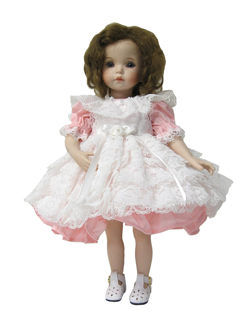 "Pink Lacy Doll Pinafore for 10"" Diana Effner Dolls"