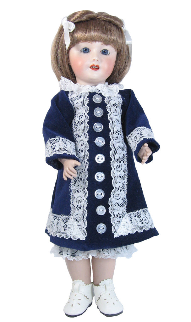 Velveteen Coat Dress for Bleuette Dolls